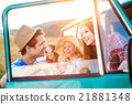 Group of teenage hipsters on a roadtrip, campervan 21881348