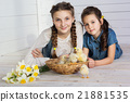 Two happy girls with yellow small chicks in basket  21881535