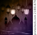 Intricate Arabic lamps with lights  21881876