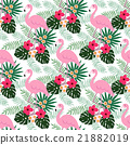 Tropical jungle seamless pattern,  flamingo bird 21882019