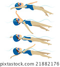 Swimming Woman Backstroke Style 21882176