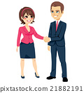 Businessman Shaking Hands Businesswoman 21882191
