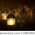 Intricate Arabic lamps with lights  21882960