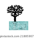 Stylized decorative image deer with horns of trees 21885907