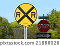 Railroad crossing RR road sign stop sign One way 21888026
