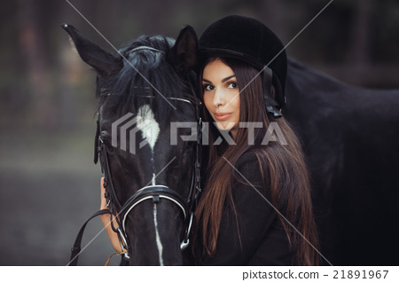 Woman and Horse in Riding School 21891967