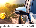 Black car side mirror with sun light effect 21892403