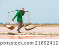 Worker carrying raw salt in salt farm 21892412