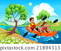 Father and daughter on the kayak in the river 21894313