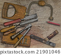 woodworking tools over bench 21901046
