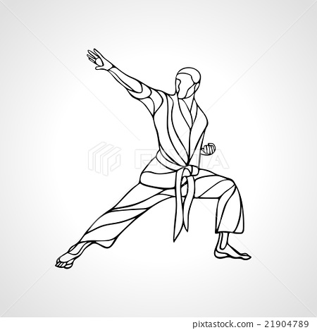 Stock Illustration: Martial arts pose silhouette. Karate fighter