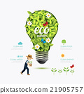 Ecology infographic green bulb shape with farmer  21905757
