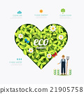 Ecology infographic green heart shape with farmer  21905758