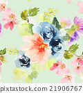 Seamless pattern with flowers watercolor 21906767