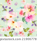 Seamless pattern with flowers watercolor 21906778