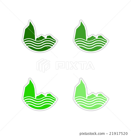 Set of paper stickers on white background sea 21917520