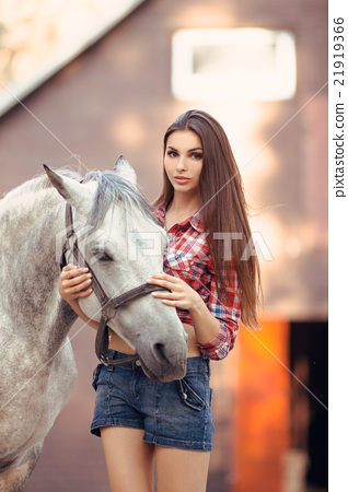 Woman and Horse. Casual Sexy Style 21919366