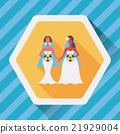 wedding couple flat icon with long shadow,eps10 21929004