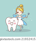 cartoon  tooth with tooth fairy 21932415