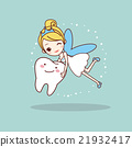cartoon  tooth with tooth fairy 21932417