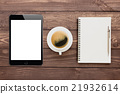 tablet coffee and book blank on wood tablet 21932614