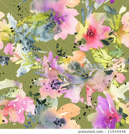Abstract Watercolor Flowers Seamless Pattern
