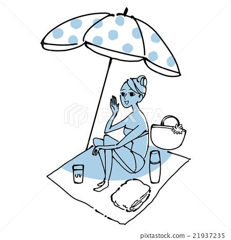 해변에서 휴식 여성 21937235