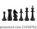 Black chess pieces isolated on white background 21938762