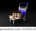 Cart carrying house, conceptual image 21939219