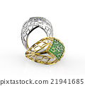 Rings with diamond. 3d illustration 21941685