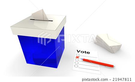 Blue ballot box with envelope 21947811