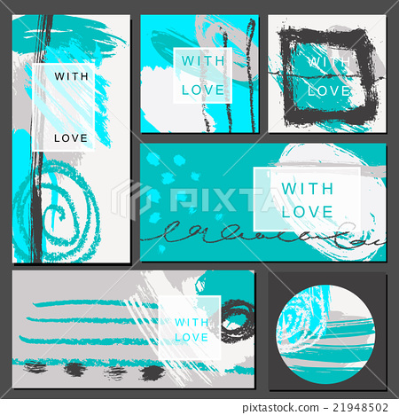 Set of universal cards. Hand Drawn textures 21948502