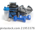 Whey protein with dumbbells and shaker.  21953376
