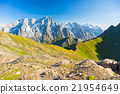 Majestic Mont Blanc massif and lush green alpine valley 21954649