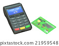 POS terminal and credit card, 3D rendering 21959548