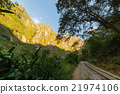 Railway track and Machu Picchu mountains, Peru 21974106