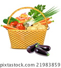 Vector Wicker Basket with Vegetables 21983859