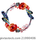 watercolor wreath feather 21990406