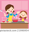 mother and daughter cooking 21990954