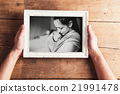 Mothers day composition. Picture frame. Wooden 21991478