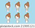 cartoon girl care her face 21995121