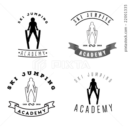 Set of logos with jumping skier silhouette 22001335