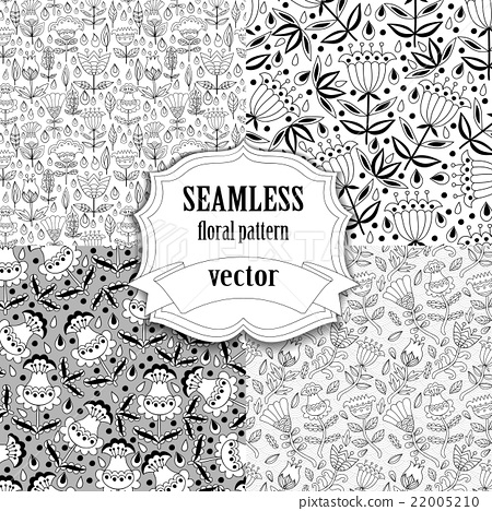 Seamless vector floral pattern collection 22005210
