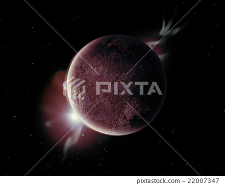red planet in the universe with aura and stars 22007347