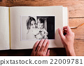 Mothers day composition. Photo album, black-and 22009781