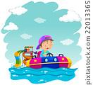船 橡皮艇 男孩 22013365