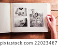Mothers day composition. Photo album, black-and 22023467