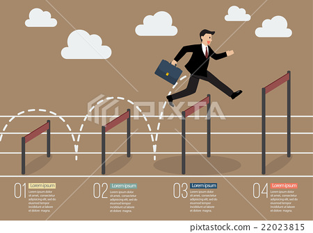 Businessman jumping over higher hurdle infographic 22023815