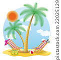beach chairs stand under a palm tree vector 22025129