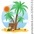 suitcase standing under a palm tree vector 22025131